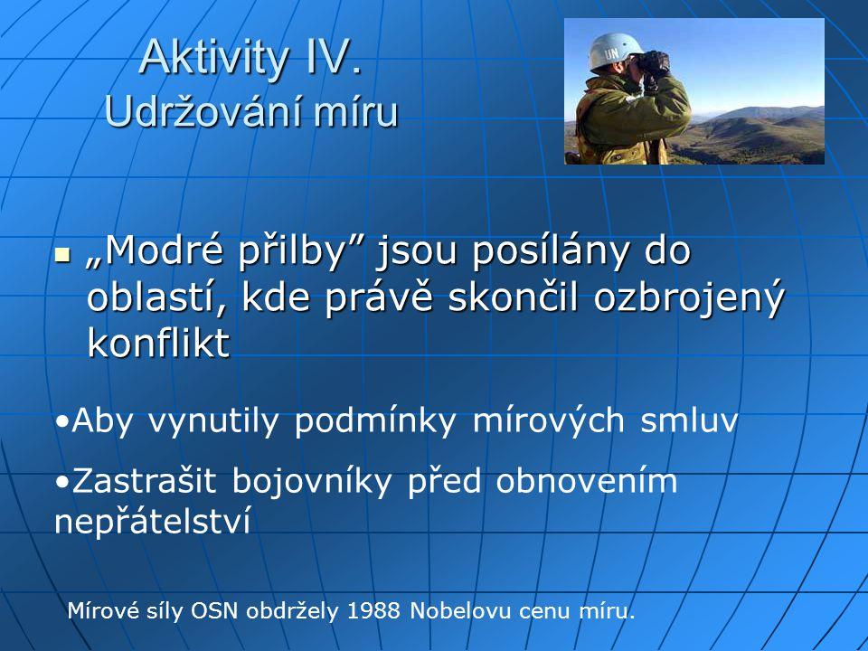 """Aktivity IV. Udržování míru """"Modré přilby"""" jsou posílány do oblastí, kde právě skončil ozbrojený konflikt """"Modré přilby"""" jsou posílány do oblastí, kde"""