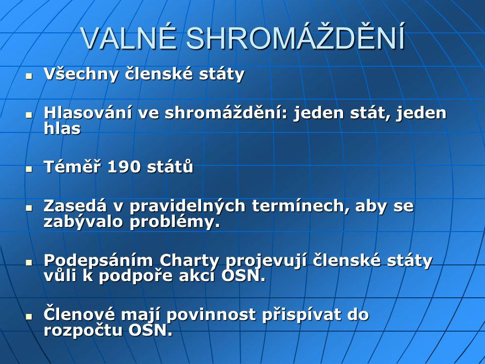 VALNÉ SHROMÁŽDĚNÍ Všechny členské státy Všechny členské státy Hlasování ve shromáždění: jeden stát, jeden hlas Hlasování ve shromáždění: jeden stát, j