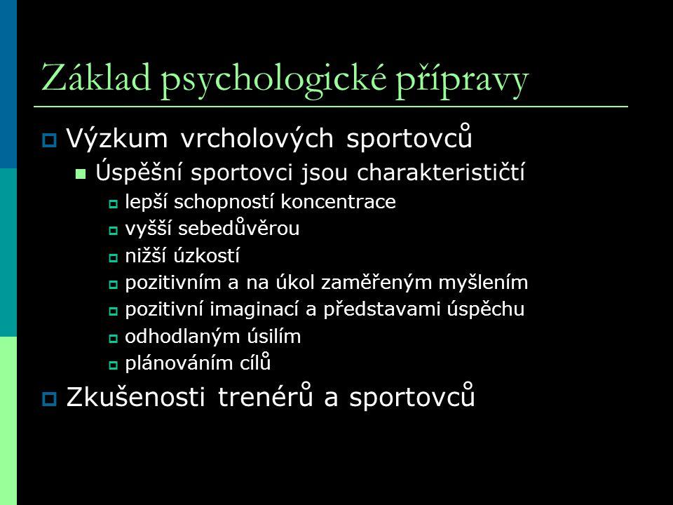 Základ psychologické přípravy  Výzkum vrcholových sportovců Úspěšní sportovci jsou charakterističtí  lepší schopností koncentrace  vyšší sebedůvěro