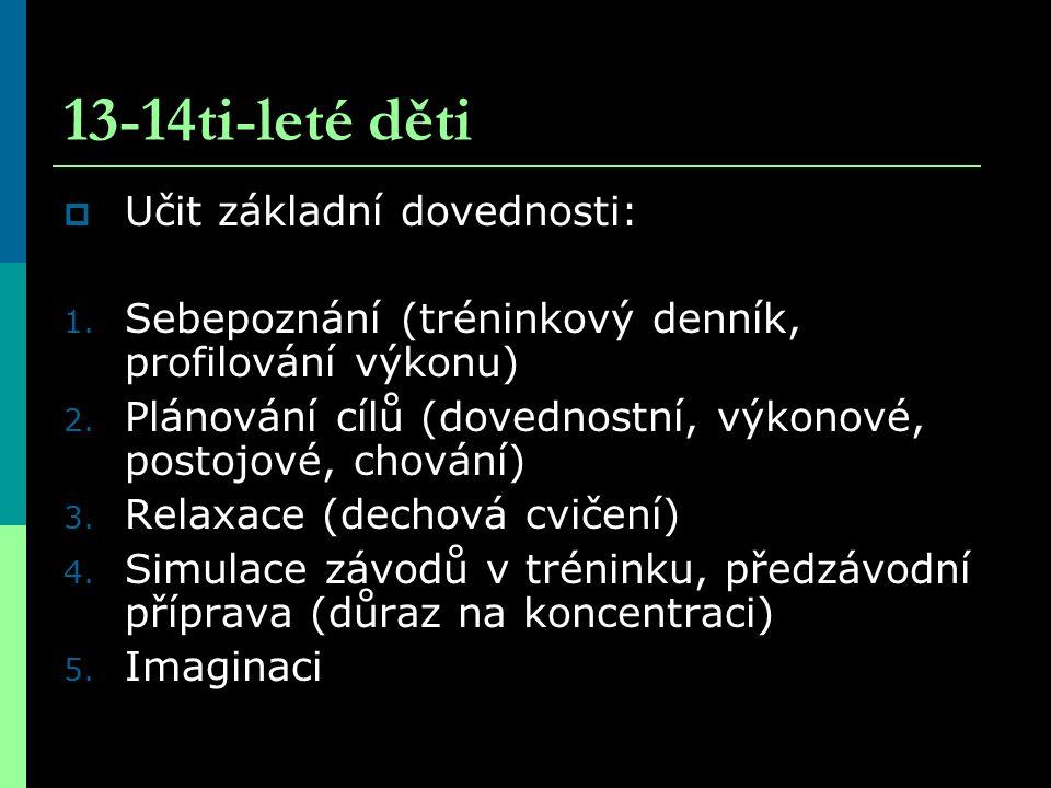 13-14ti-leté děti  Učit základní dovednosti: 1. Sebepoznání (tréninkový denník, profilování výkonu) 2. Plánování cílů (dovednostní, výkonové, postojo