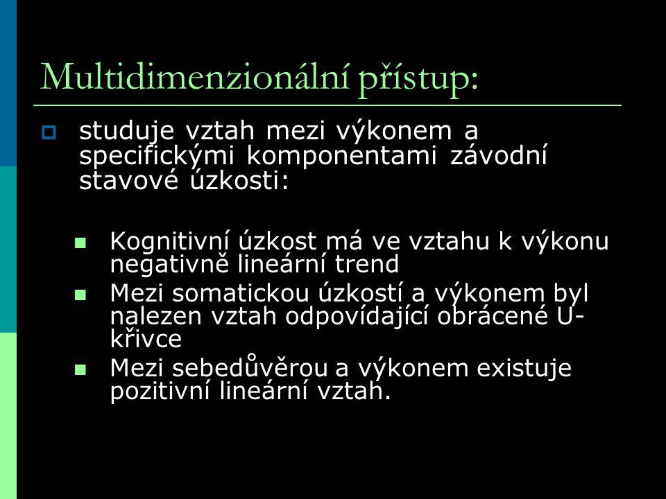 Multidimenzionální přístup:  studuje vztah mezi výkonem a specifickými komponentami závodní stavové úzkosti: Kognitivní úzkost má ve vztahu k výkonu