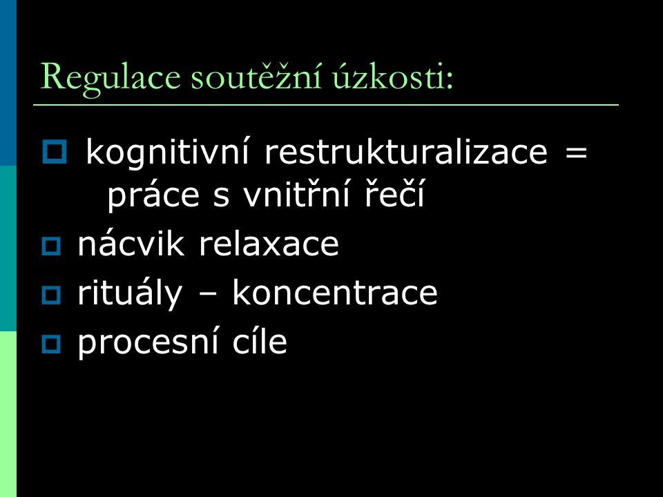Regulace soutěžní úzkosti:  kognitivní restrukturalizace = práce s vnitřní řečí  nácvik relaxace  rituály – koncentrace  procesní cíle