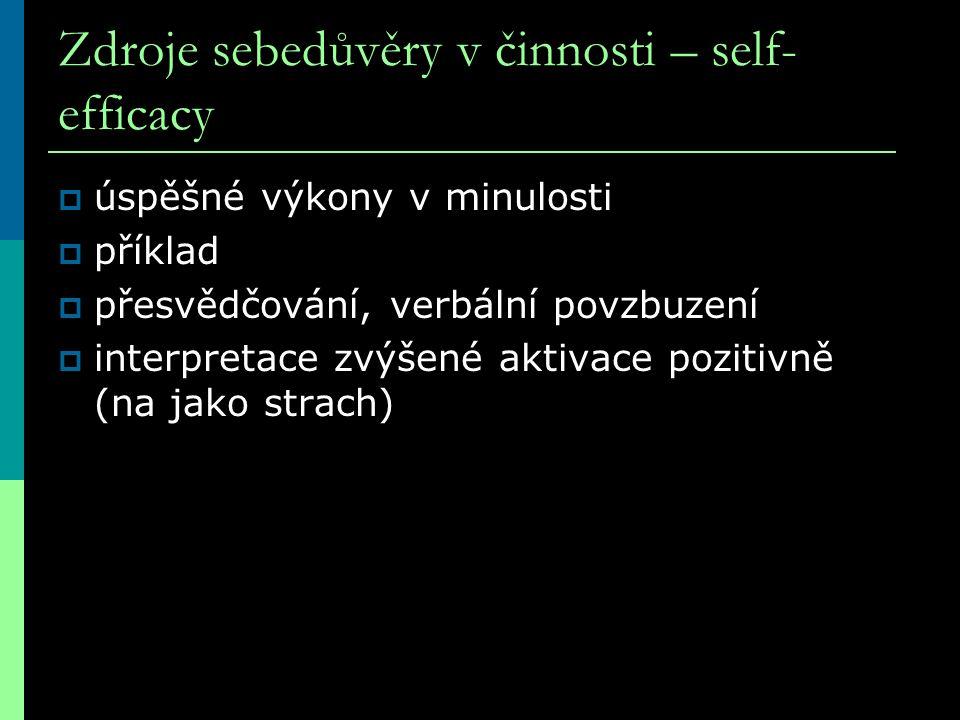 Zdroje sebedůvěry v činnosti – self- efficacy  úspěšné výkony v minulosti  příklad  přesvědčování, verbální povzbuzení  interpretace zvýšené aktiv