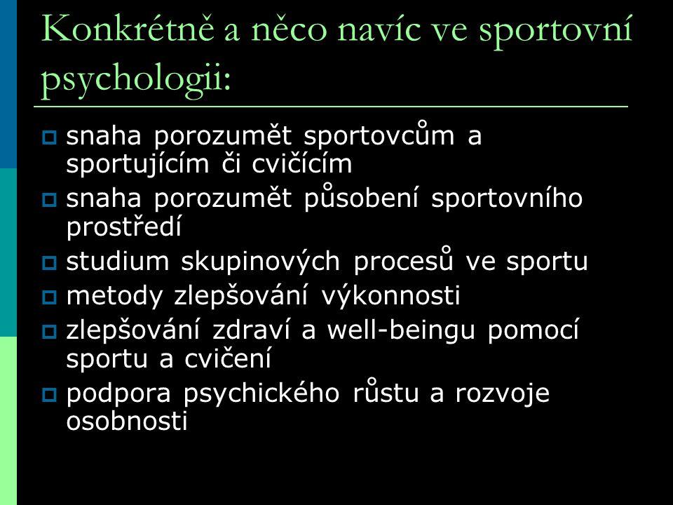 Konkrétně a něco navíc ve sportovní psychologii:  snaha porozumět sportovcům a sportujícím či cvičícím  snaha porozumět působení sportovního prostře