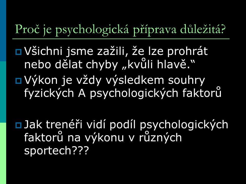 """Proč je psychologická příprava důležitá?  Všichni jsme zažili, že lze prohrát nebo dělat chyby """"kvůli hlavě.""""  Výkon je vždy výsledkem souhry fyzick"""