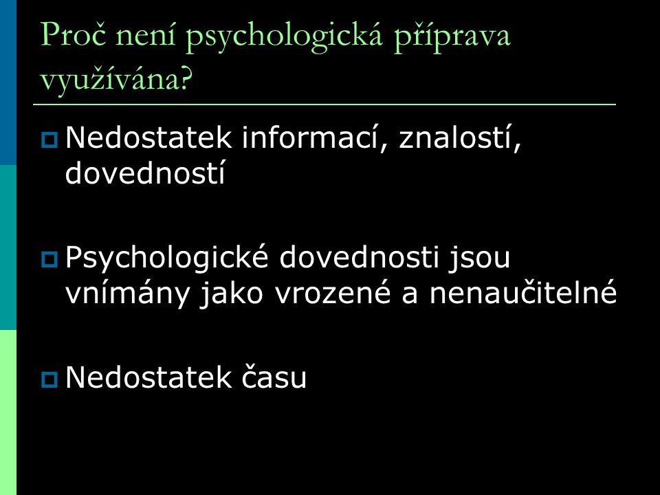 Proč není psychologická příprava využívána?  Nedostatek informací, znalostí, dovedností  Psychologické dovednosti jsou vnímány jako vrozené a nenauč