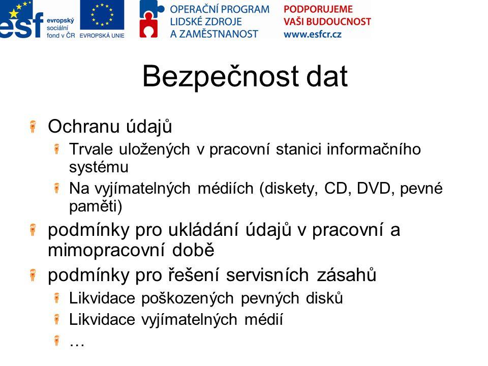 Bezpečnost dat Ochranu údajů Trvale uložených v pracovní stanici informačního systému Na vyjímatelných médiích (diskety, CD, DVD, pevné paměti) podmín