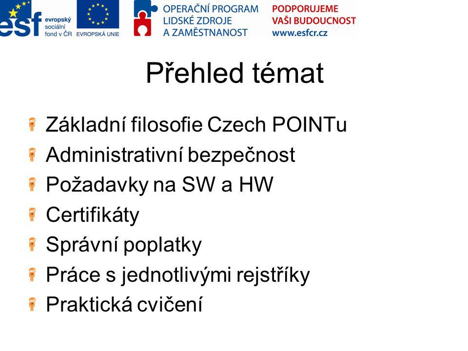 Přehled témat Základní filosofie Czech POINTu Administrativní bezpečnost Požadavky na SW a HW Certifikáty Správní poplatky Práce s jednotlivými rejstř