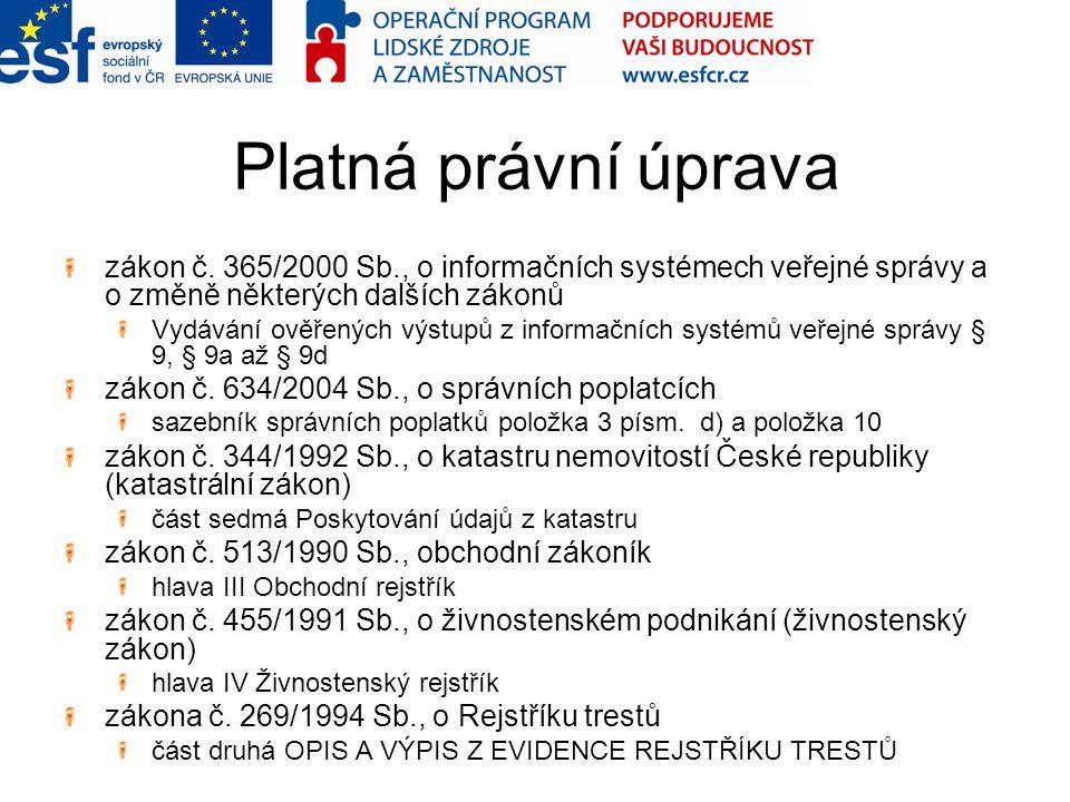 Platná právní úprava zákon č. 365/2000 Sb., o informačních systémech veřejné správy a o změně některých dalších zákonů Vydávání ověřených výstupů z in