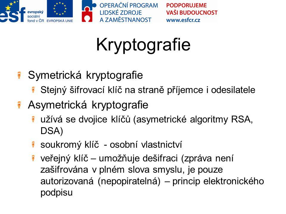 Kryptografie Symetrická kryptografie Stejný šifrovací klíč na straně příjemce i odesilatele Asymetrická kryptografie užívá se dvojice klíčů (asymetric