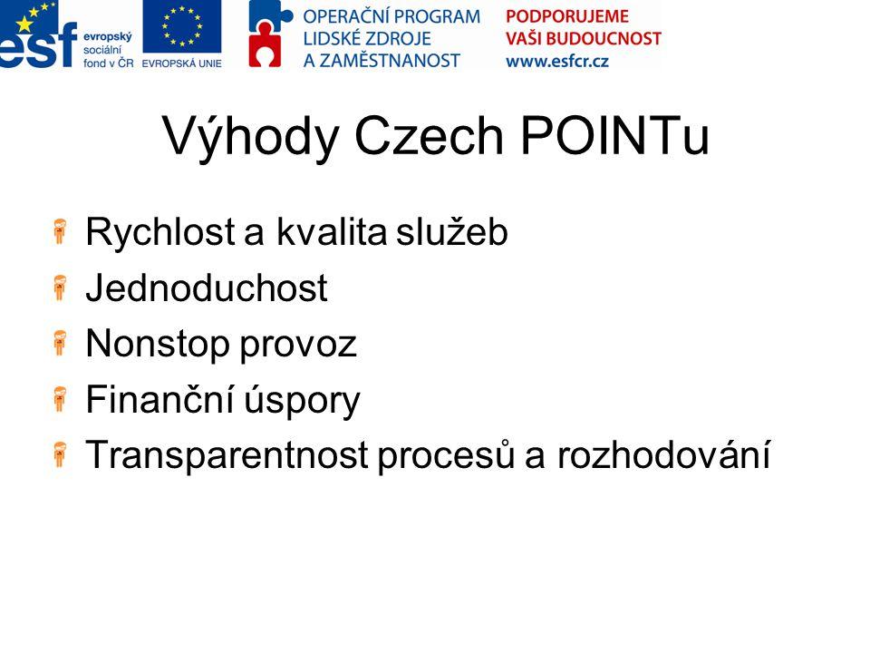 Výhody Czech POINTu Rychlost a kvalita služeb Jednoduchost Nonstop provoz Finanční úspory Transparentnost procesů a rozhodování