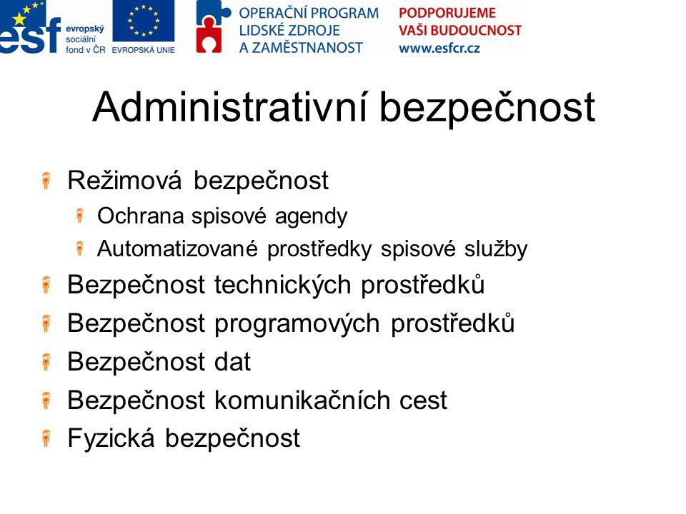 Administrativní bezpečnost Režimová bezpečnost Ochrana spisové agendy Automatizované prostředky spisové služby Bezpečnost technických prostředků Bezpe