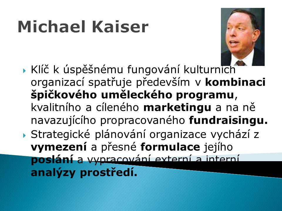 Michael Kaiser  Klíč k úspěšnému fungování kulturních organizací spatřuje především v kombinaci špičkového uměleckého programu, kvalitního a cíleného