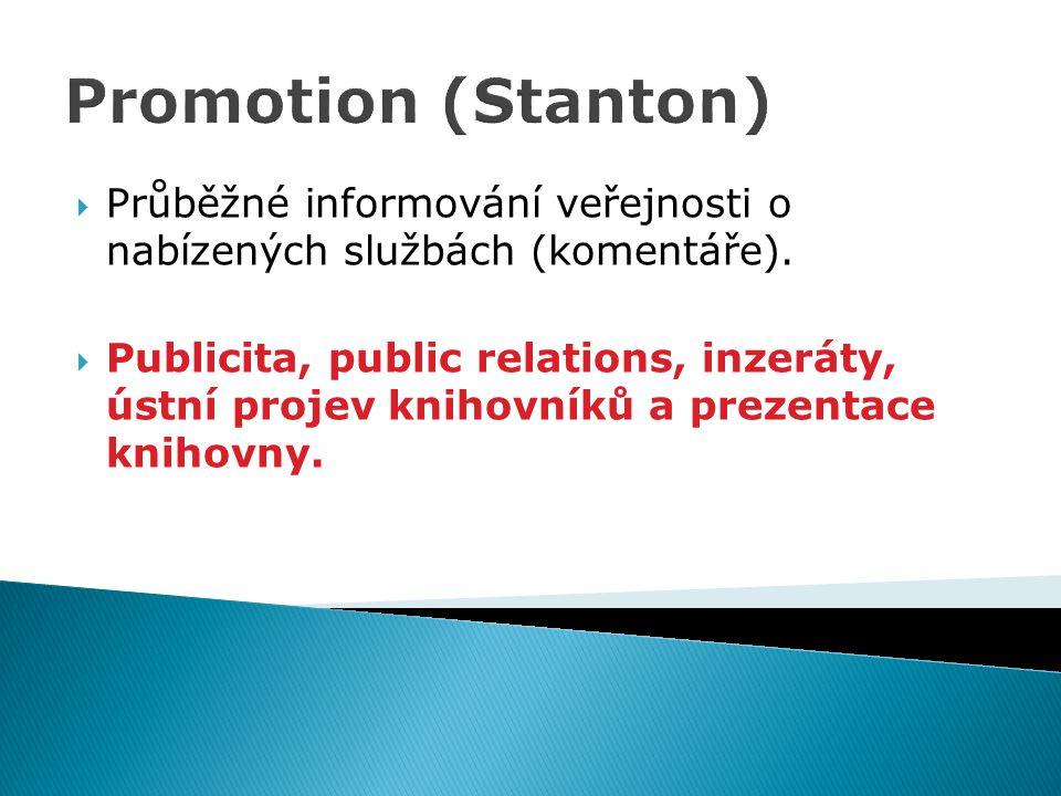 Promotion (Stanton)  Průběžné informování veřejnosti o nabízených službách (komentáře).  Publicita, public relations, inzeráty, ústní projev knihovn
