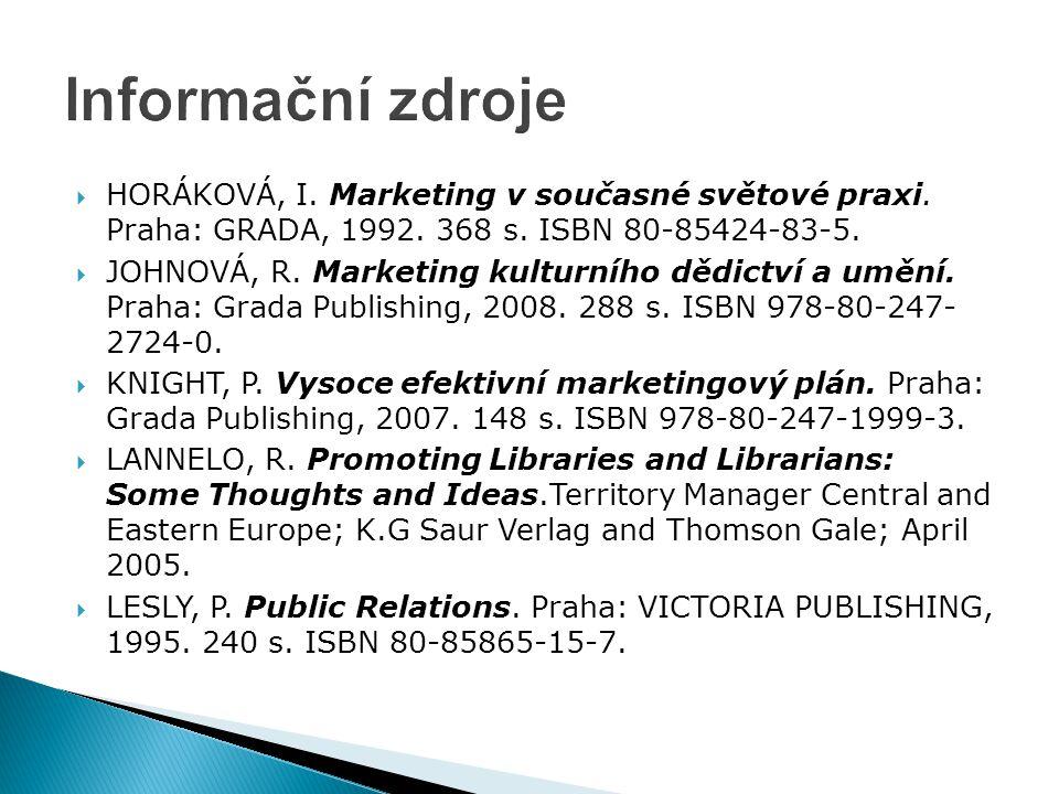  HORÁKOVÁ, I. Marketing v současné světové praxi. Praha: GRADA, 1992. 368 s. ISBN 80-85424-83-5.  JOHNOVÁ, R. Marketing kulturního dědictví a umění.