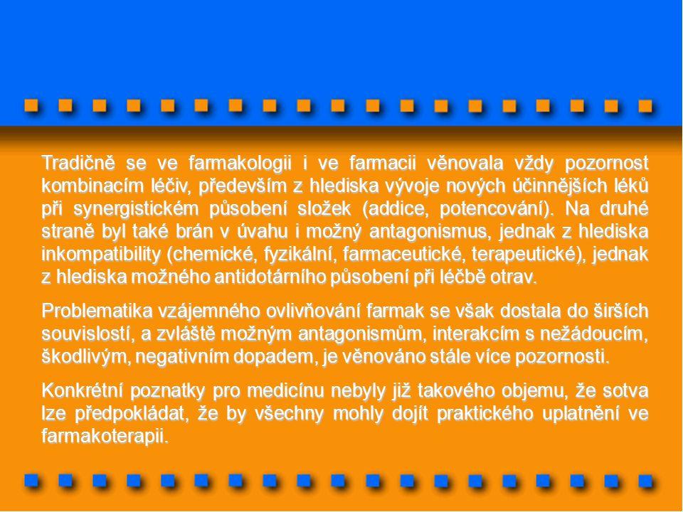 Tradičně se ve farmakologii i ve farmacii věnovala vždy pozornost kombinacím léčiv, především z hlediska vývoje nových účinnějších léků při synergisti