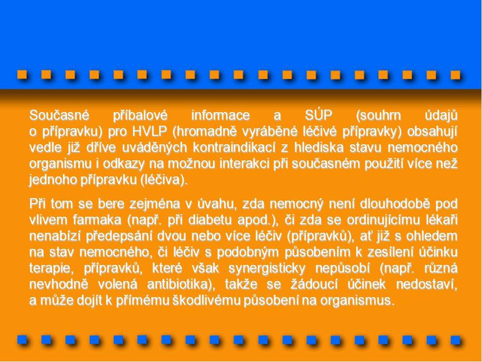 Současné příbalové informace a SÚP (souhrn údajů o přípravku) pro HVLP (hromadně vyráběné léčivé přípravky) obsahují vedle již dříve uváděných kontrai