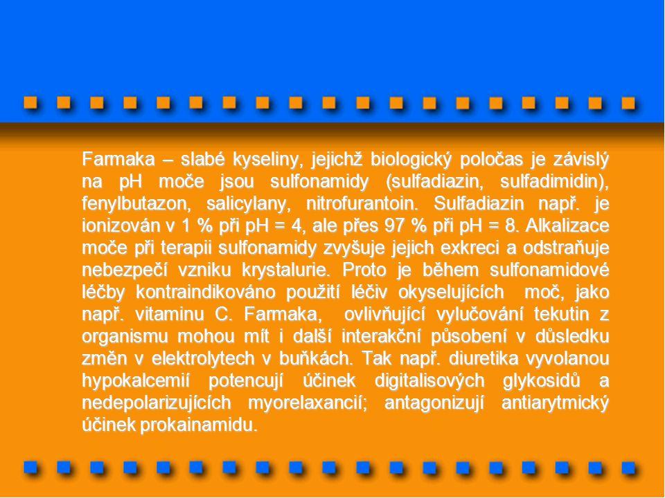 Farmaka – slabé kyseliny, jejichž biologický poločas je závislý na pH moče jsou sulfonamidy (sulfadiazin, sulfadimidin), fenylbutazon, salicylany, nit