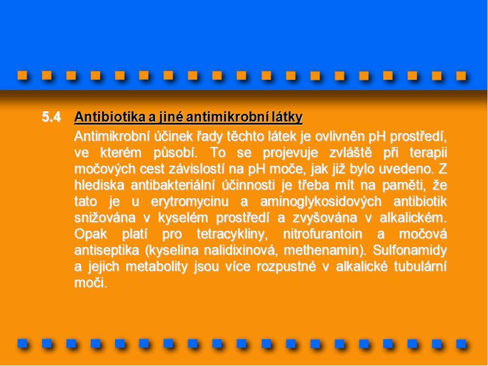5.4Antibiotika a jiné antimikrobní látky Antimikrobní účinek řady těchto látek je ovlivněn pH prostředí, ve kterém působí. To se projevuje zvláště při