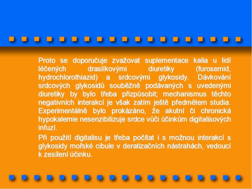 Proto se doporučuje zvažovat suplementace kalia u lidí léčených draslíkovými diuretiky (furosemid, hydrochlorothiazid) a srdcovými glykosidy. Dávkován