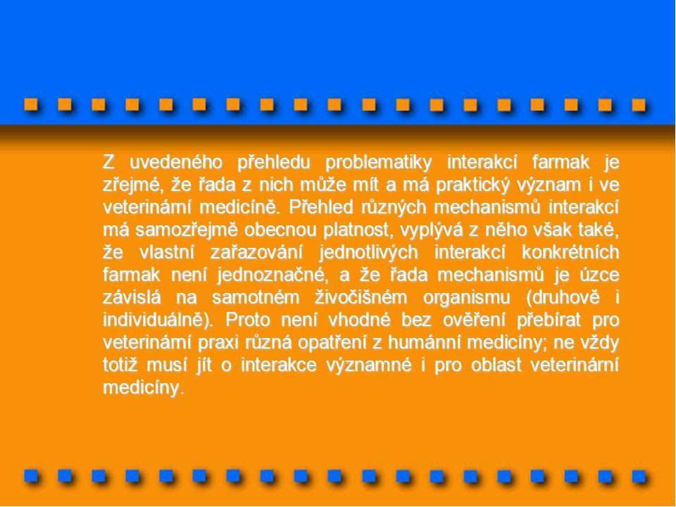 Z uvedeného přehledu problematiky interakcí farmak je zřejmé, že řada z nich může mít a má praktický význam i ve veterinární medicíně. Přehled různých