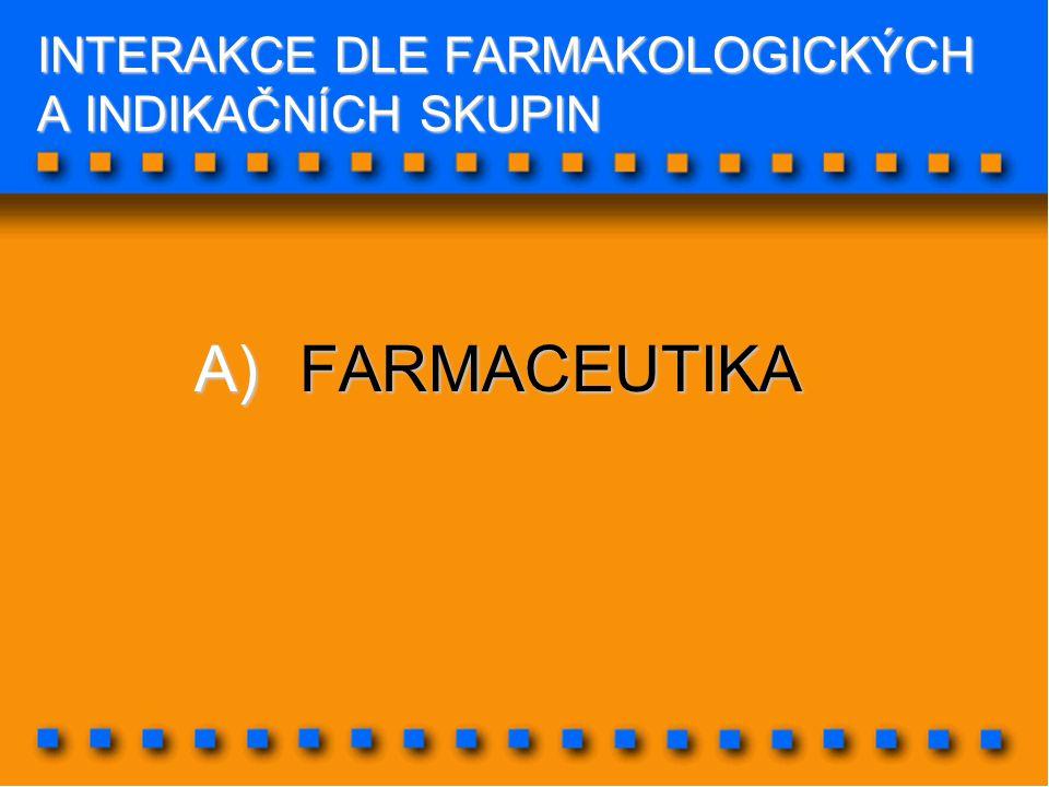INTERAKCE DLE FARMAKOLOGICKÝCH A INDIKAČNÍCH SKUPIN A)FARMACEUTIKA