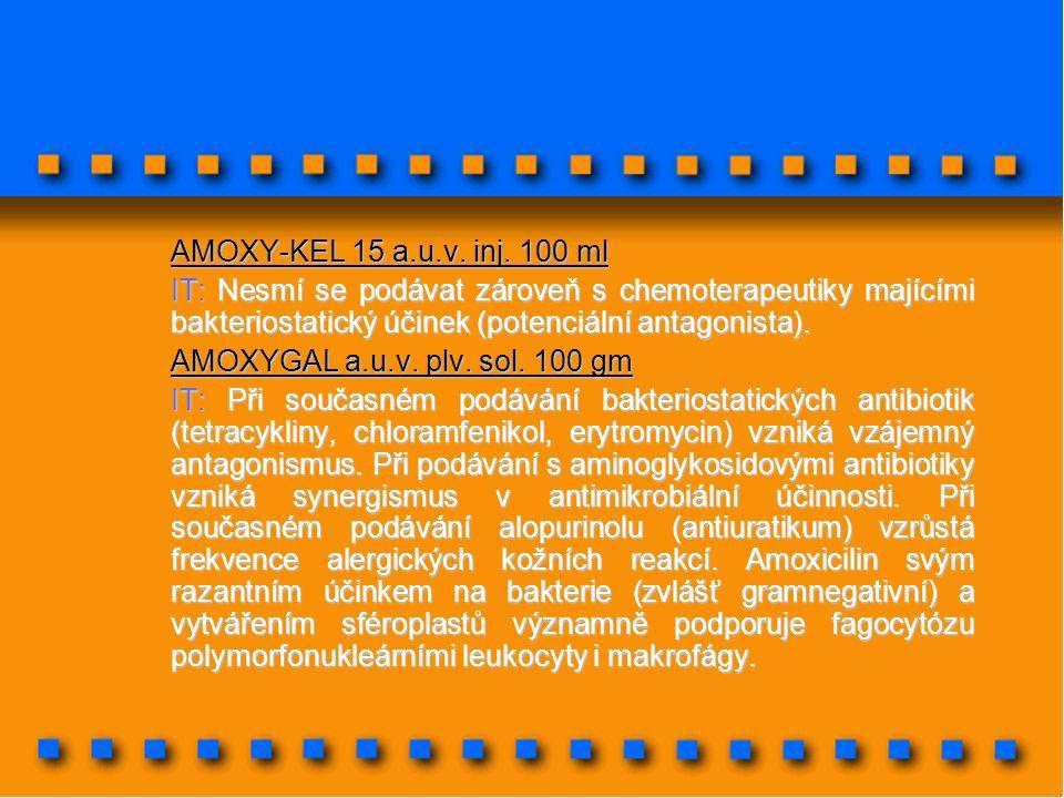 AMOXY-KEL 15 a.u.v. inj. 100 ml IT: Nesmí se podávat zároveň s chemoterapeutiky majícími bakteriostatický účinek (potenciální antagonista). AMOXYGAL a