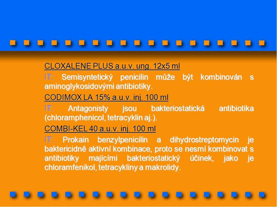 CLOXALENE PLUS a.u.v. ung. 12x5 ml IT: Semisyntetický penicilin může být kombinován s aminoglykosidovými antibiotiky. CODIMOX LA 15% a.u.v. inj. 100 m