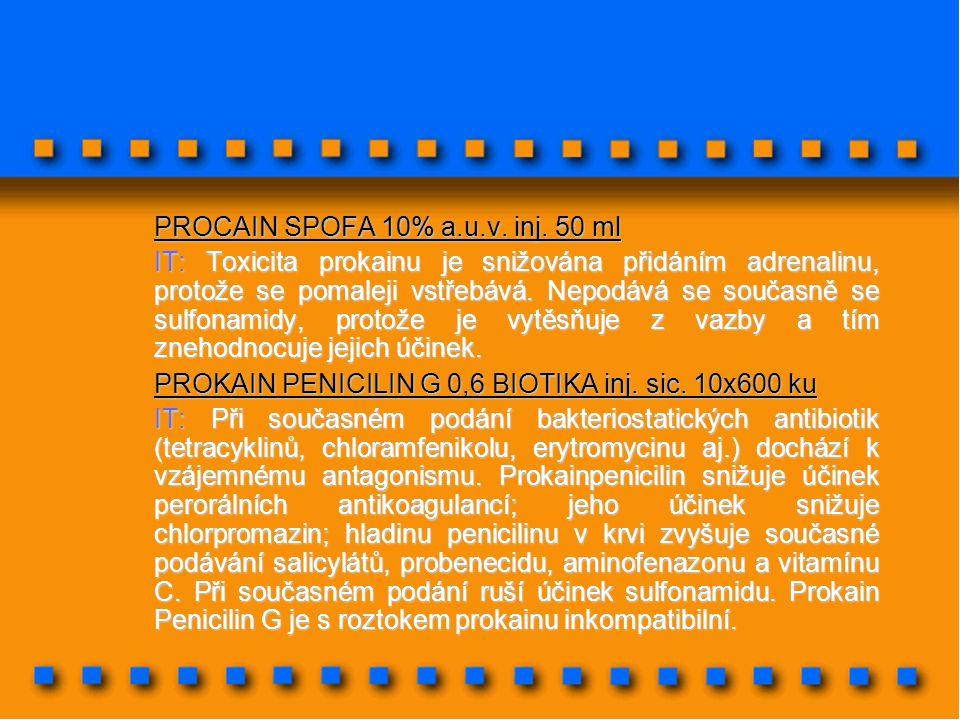 PROCAIN SPOFA 10% a.u.v. inj. 50 ml IT: Toxicita prokainu je snižována přidáním adrenalinu, protože se pomaleji vstřebává. Nepodává se současně se sul