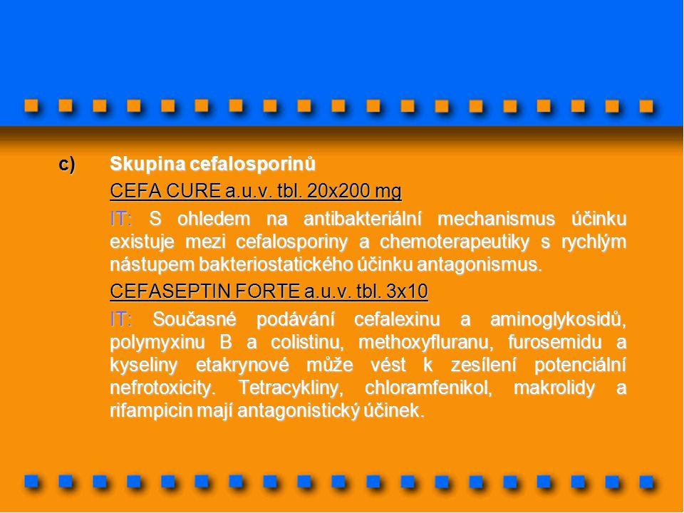 c)Skupina cefalosporinů CEFA CURE a.u.v. tbl. 20x200 mg IT: S ohledem na antibakteriální mechanismus účinku existuje mezi cefalosporiny a chemoterapeu