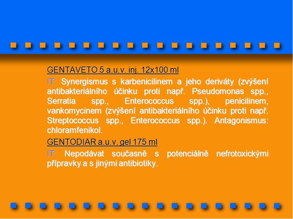 GENTAVETO 5 a.u.v. inj. 12x100 ml IT: Synergismus s karbenicilinem a jeho deriváty (zvýšení antibakteriálního účinku proti např. Pseudomonas spp., Ser