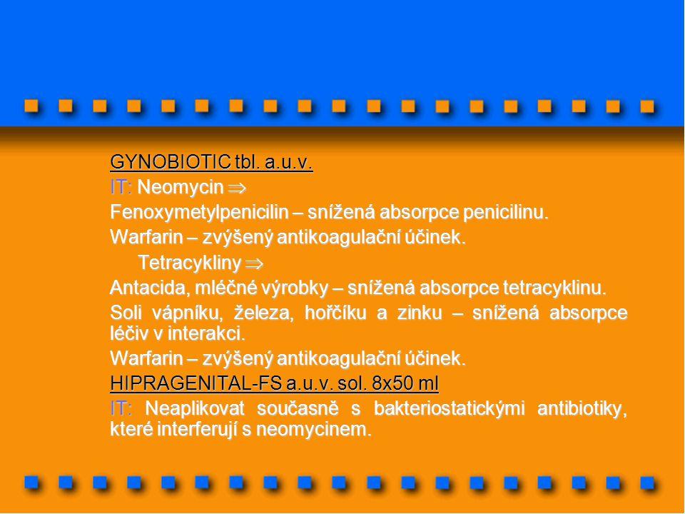 GYNOBIOTIC tbl. a.u.v. IT: Neomycin  Fenoxymetylpenicilin – snížená absorpce penicilinu. Warfarin – zvýšený antikoagulační účinek. Tetracykliny  Tet