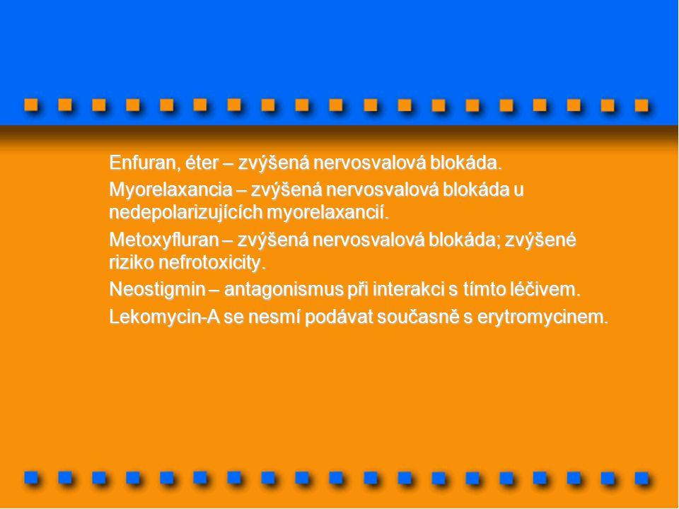 Enfuran, éter – zvýšená nervosvalová blokáda. Myorelaxancia – zvýšená nervosvalová blokáda u nedepolarizujících myorelaxancií. Metoxyfluran – zvýšená