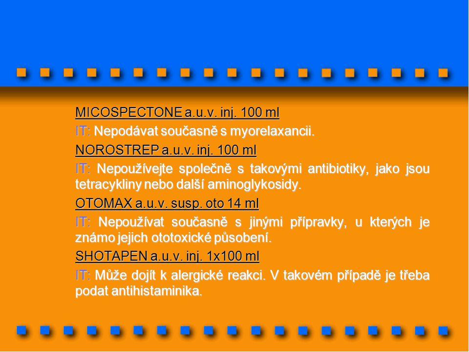 MICOSPECTONE a.u.v. inj. 100 ml IT: Nepodávat současně s myorelaxancii. NOROSTREP a.u.v. inj. 100 ml IT: Nepoužívejte společně s takovými antibiotiky,