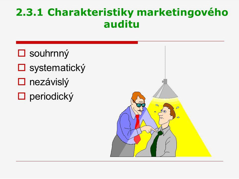 2.3.2 Prvky marketingového auditu  audit marketingového prostředí  audit marketingové strategie  audit marketingové organizace  audit marketingových systémů  audit marketingové produktivity  audit marketingových funkcí