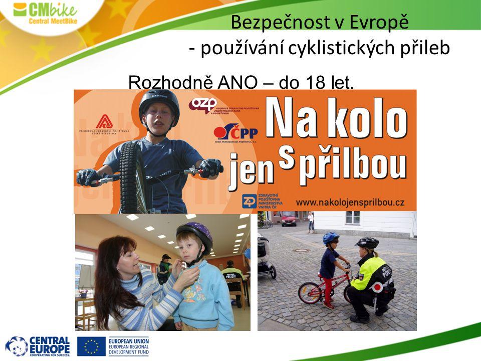 Bezpečnost v Evropě - používání cyklistických přileb Rozhodně ANO – do 18 let.