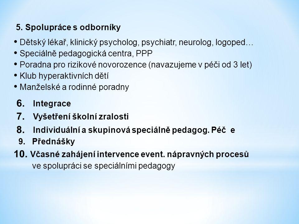 5. Spolupráce s odborníky Dětský lékař, klinický psycholog, psychiatr, neurolog, logoped… Speciálně pedagogická centra, PPP Poradna pro rizikové novor