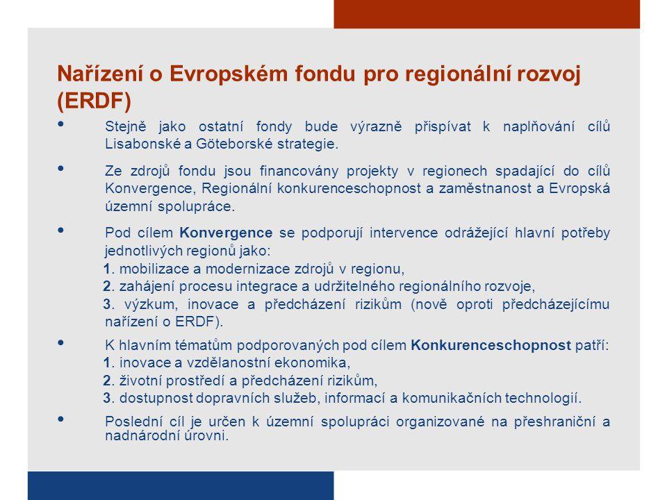 Nařízení o Evropském fondu pro regionální rozvoj (ERDF) Stejně jako ostatní fondy bude výrazně přispívat k naplňování cílů Lisabonské a Göteborské strategie.