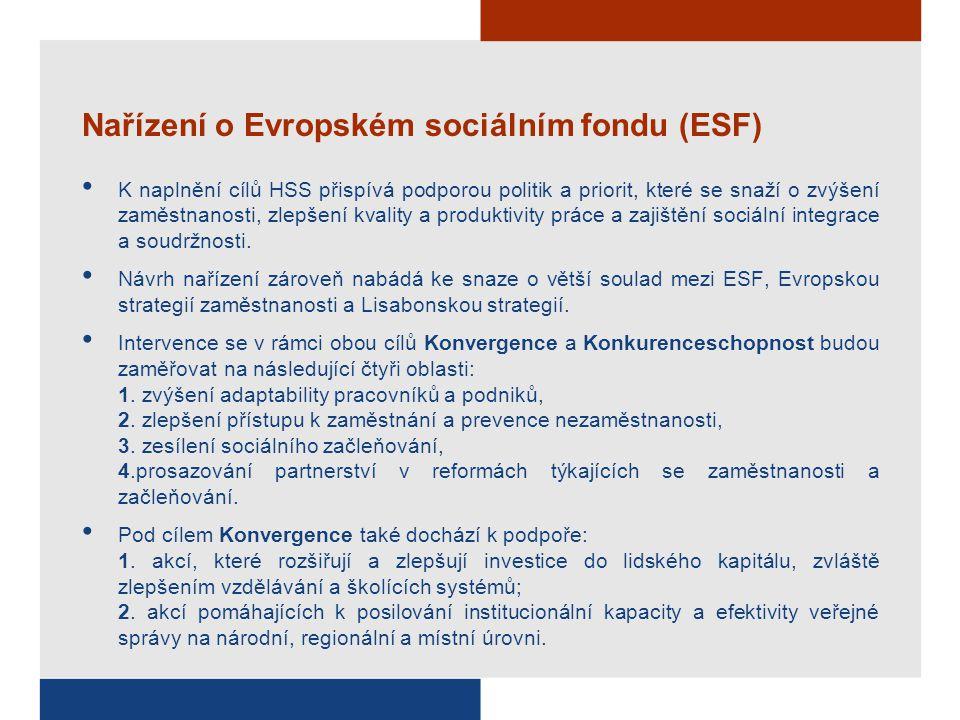 Nařízení o Evropském sociálním fondu (ESF) K naplnění cílů HSS přispívá podporou politik a priorit, které se snaží o zvýšení zaměstnanosti, zlepšení k