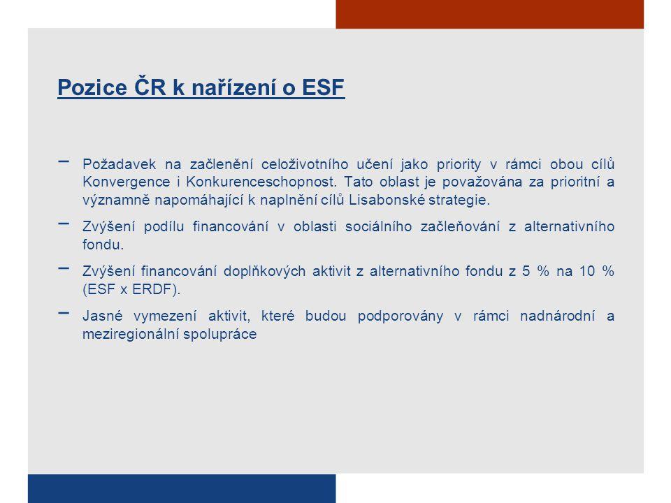 Pozice ČR k nařízení o ESF − Požadavek na začlenění celoživotního učení jako priority v rámci obou cílů Konvergence i Konkurenceschopnost.