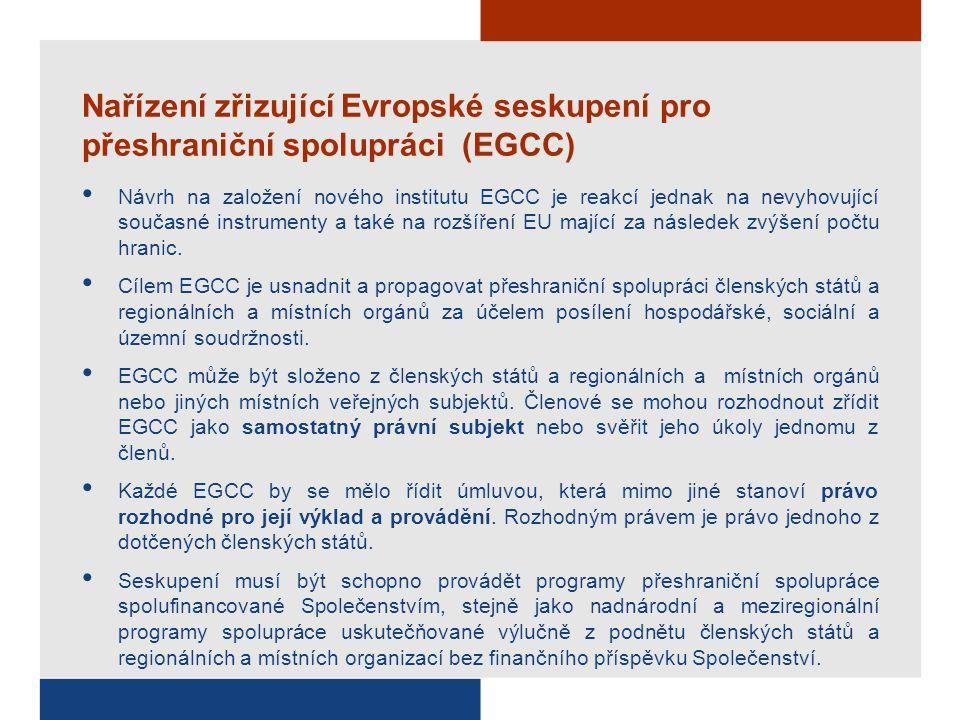 Nařízení zřizující Evropské seskupení pro přeshraniční spolupráci (EGCC) Návrh na založení nového institutu EGCC je reakcí jednak na nevyhovující souč