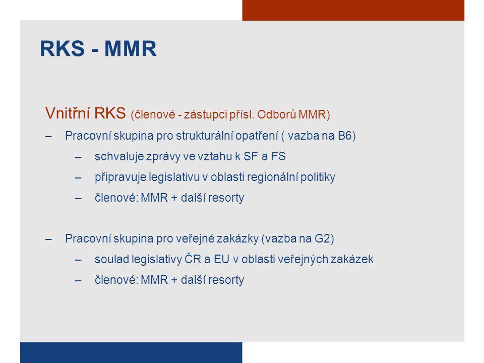 RKS - MMR Vnitřní RKS (členové - zástupci přísl. Odborů MMR) –Pracovní skupina pro strukturální opatření ( vazba na B6) –schvaluje zprávy ve vztahu k