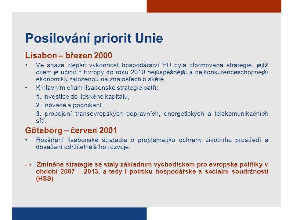 Posilování priorit Unie Lisabon – březen 2000 Ve snaze zlepšit výkonnost hospodářství EU byla zformována strategie, jejíž cílem je učinit z Evropy do