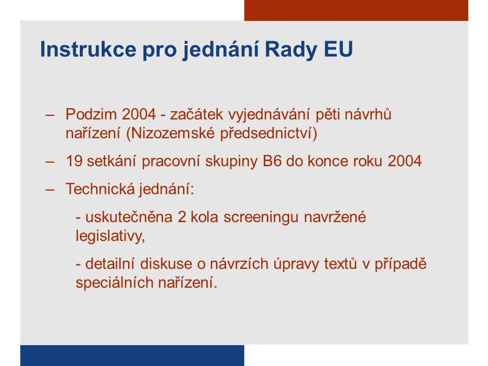 Instrukce pro jednání Rady EU –Podzim 2004 - začátek vyjednávání pěti návrhů nařízení (Nizozemské předsednictví) –19 setkání pracovní skupiny B6 do konce roku 2004 –Technická jednání: - uskutečněna 2 kola screeningu navržené legislativy, - detailní diskuse o návrzích úpravy textů v případě speciálních nařízení.