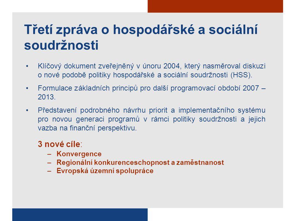 Třetí zpráva o hospodářské a sociální soudržnosti Klíčový dokument zveřejněný v únoru 2004, který nasměroval diskuzi o nové podobě politiky hospodářské a sociální soudržnosti (HSS).