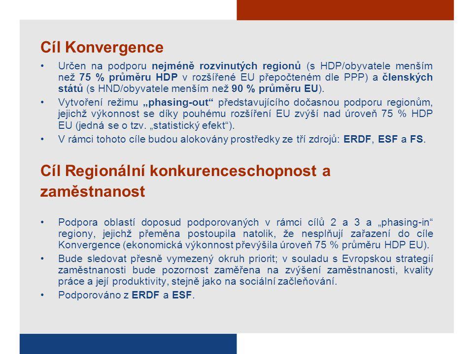 Cíl Konvergence Určen na podporu nejméně rozvinutých regionů (s HDP/obyvatele menším než 75 % průměru HDP v rozšířené EU přepočteném dle PPP) a členských států (s HND/obyvatele menším než 90 % průměru EU).