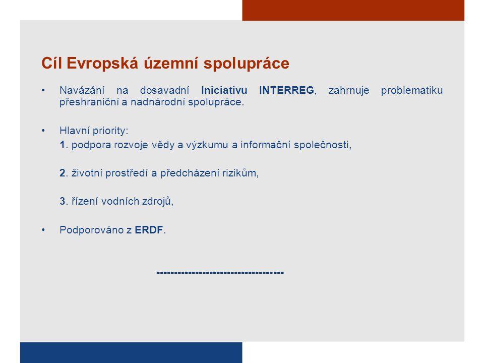Cíl Evropská územní spolupráce Navázání na dosavadní Iniciativu INTERREG, zahrnuje problematiku přeshraniční a nadnárodní spolupráce. Hlavní priority: