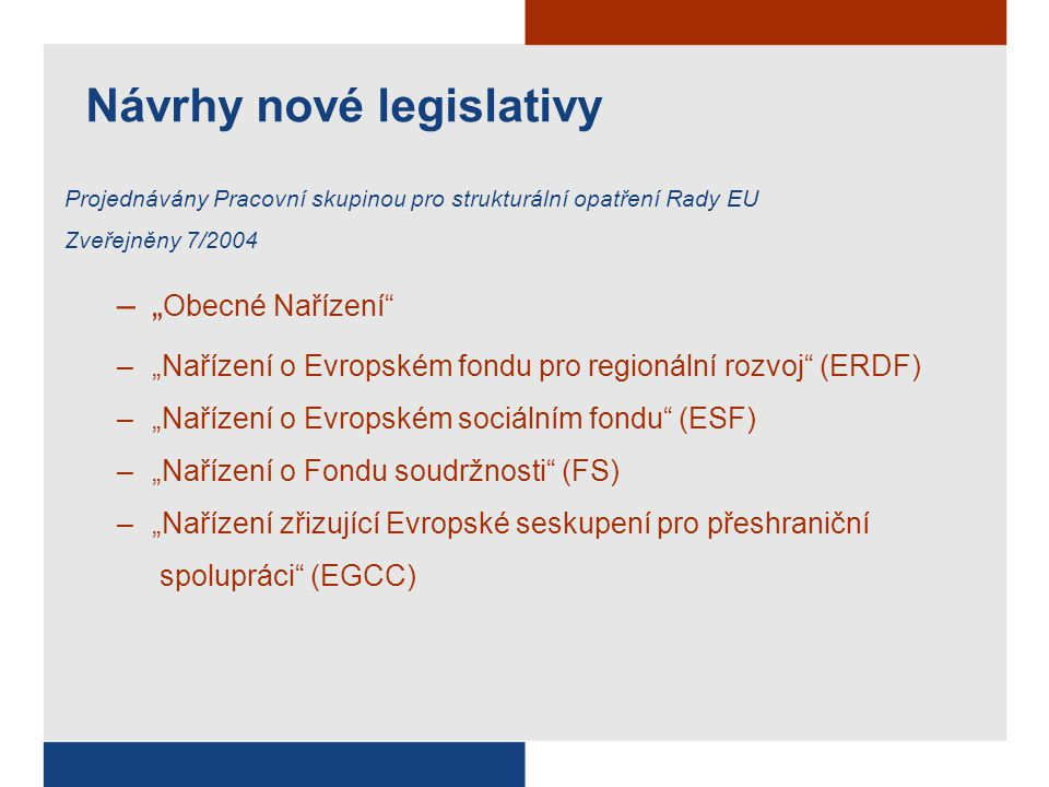 """Návrhy nové legislativy Projednávány Pracovní skupinou pro strukturální opatření Rady EU Zveřejněny 7/2004 –"""" Obecné Nařízení –""""Nařízení o Evropském fondu pro regionální rozvoj (ERDF) –""""Nařízení o Evropském sociálním fondu (ESF) –""""Nařízení o Fondu soudržnosti (FS) –""""Nařízení zřizující Evropské seskupení pro přeshraniční spolupráci (EGCC)"""