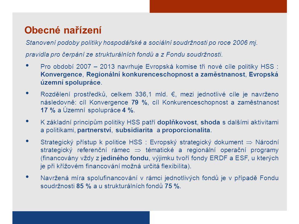 Obecné nařízení Stanovení podoby politiky hospodářské a sociální soudržnosti po roce 2006 mj. pravidla pro čerpání ze strukturálních fondů a z Fondu s
