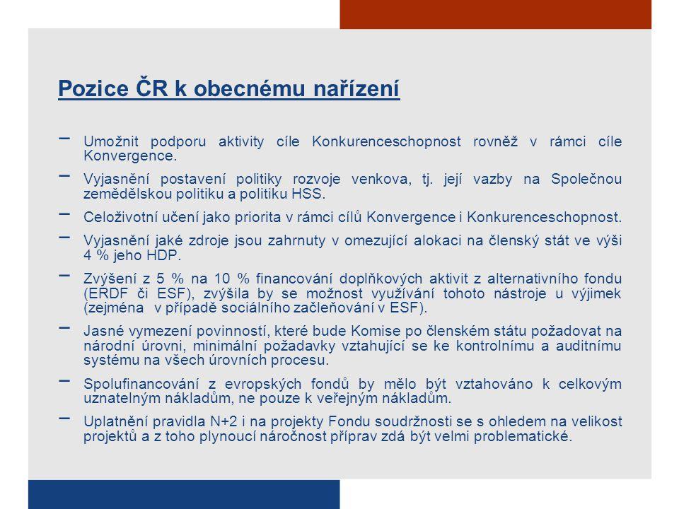 Pozice ČR k obecnému nařízení − Umožnit podporu aktivity cíle Konkurenceschopnost rovněž v rámci cíle Konvergence. − Vyjasnění postavení politiky rozv